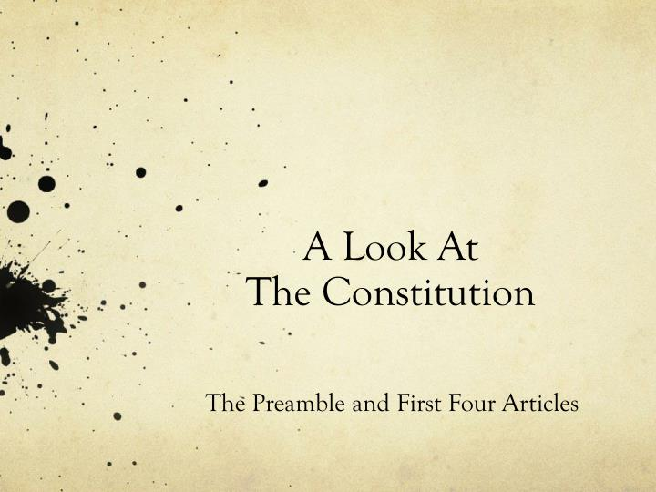 a look at the constitution n.