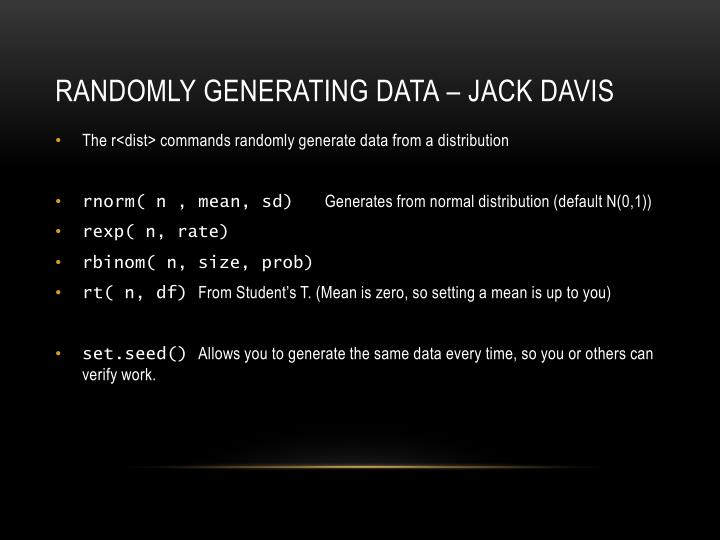 Randomly generating data – jack