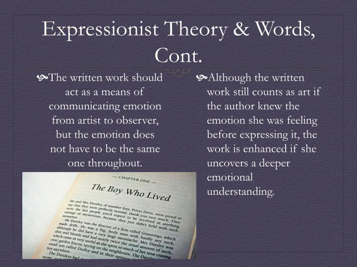 Expressionist Theory & Words, Cont