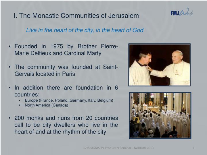I the monastic communities of jerusalem