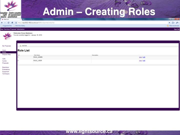 Admin – Creating Roles