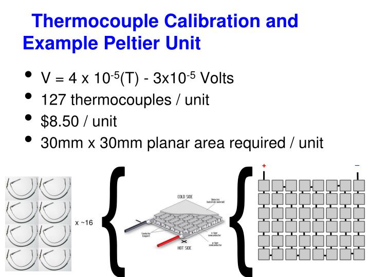 Thermocouple calibration and example peltier unit