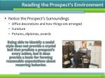 reading the prospect s environment