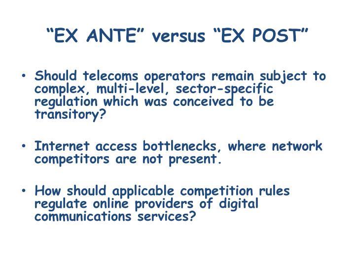 Ex ante versus ex post