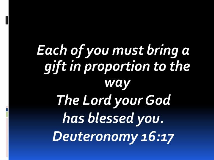 Each of you must bring a gift in proportion to the way