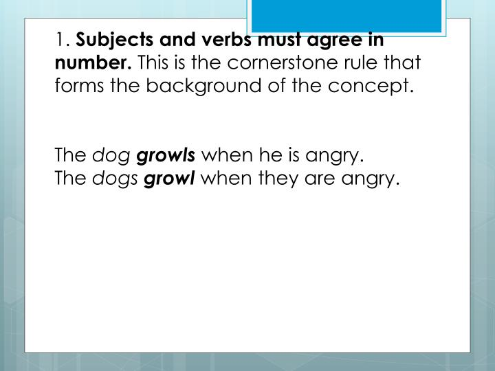 Ppt The 20 Rules Of Subject Verb Agreement In Standard English