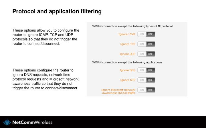 Protocol and application filtering