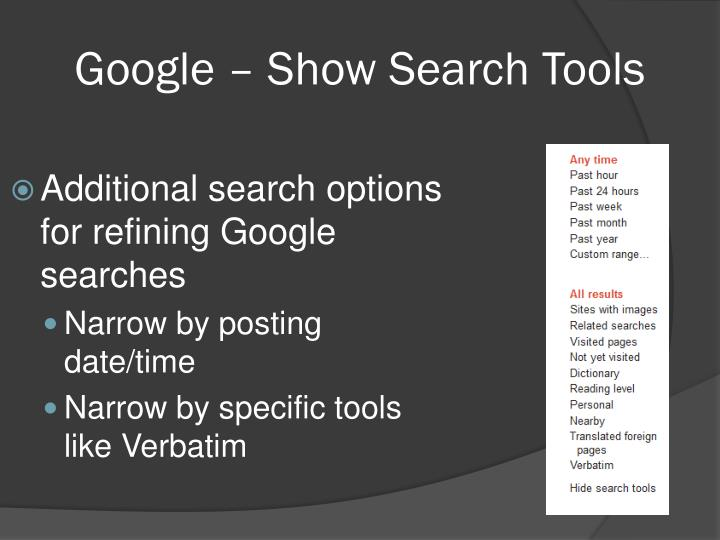 Google – Show Search Tools