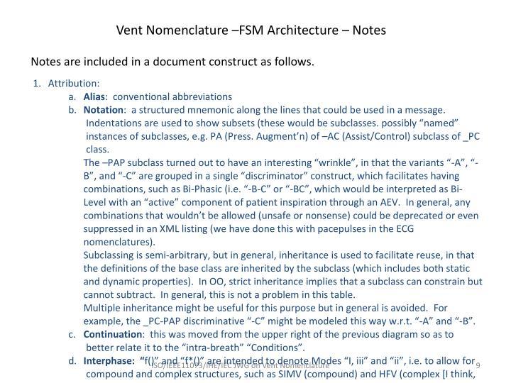 Vent Nomenclature –FSM Architecture – Notes