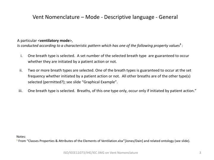Vent nomenclature mode descriptive language general