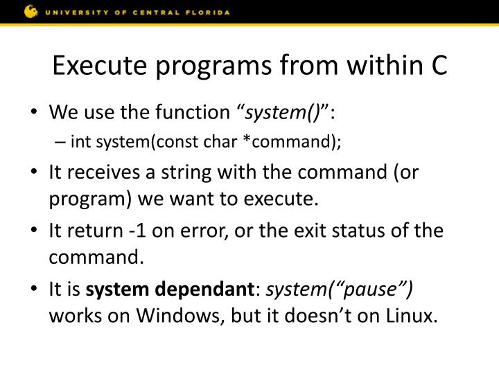Execute programs from within C
