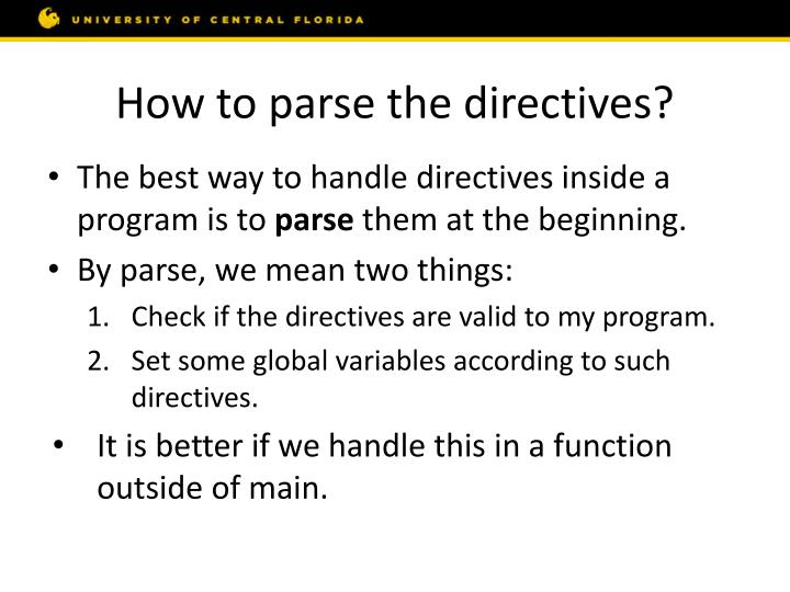 How to parse the directives?