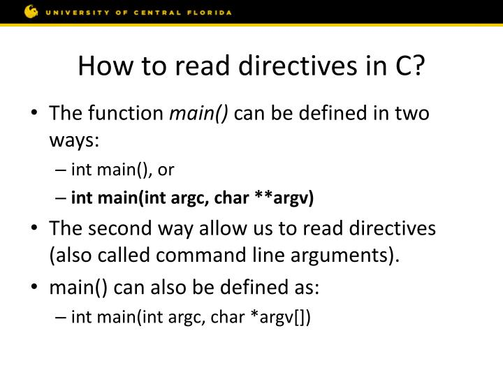 How to read directives in C?