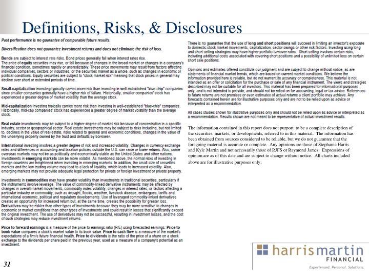 Definitions, Risks, & Disclosures