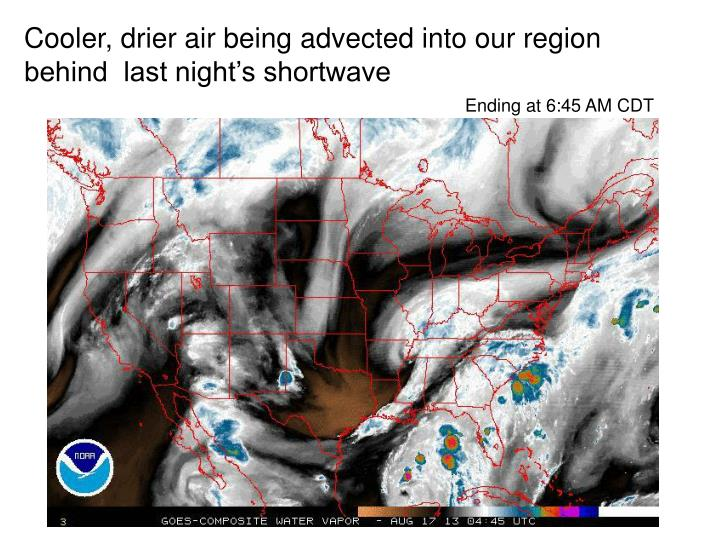 Cooler, drier air being