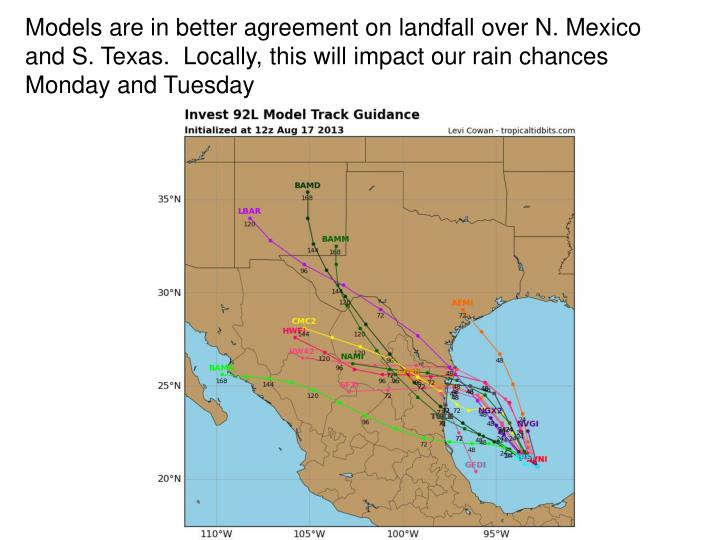 Models are in better agreement on landfall over N. Mexico and S. Texas.  Locally, this will impact our rain chances Monday and Tuesday