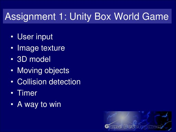 Assignment 1: Unity Box World Game