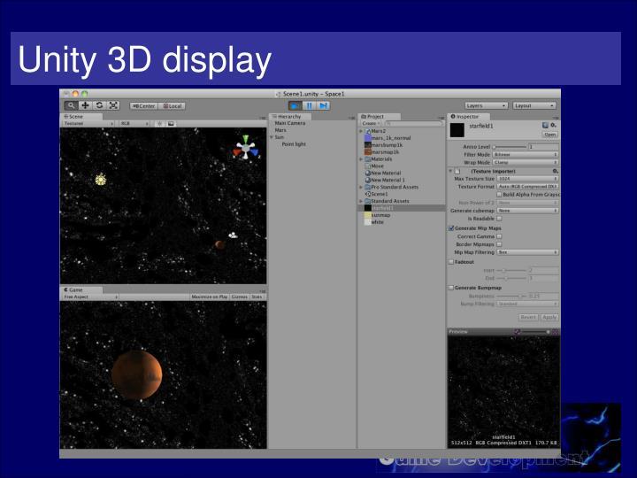 Unity 3D display
