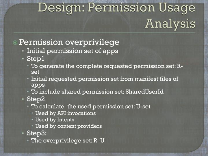 Design: Permission Usage Analysis