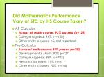 did mathematics performance vary at stc by hs course taken