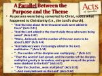 a parallel between the purpose and the theme