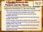 a parallel between the purpose and the theme1