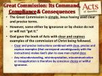 great commission its command compliance consequences1