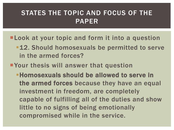 should homosexuals be stopped essay Should homosexual marriage be legalized to make a valid argument concerning the legalization of homosexual marriage, one must consider a few important factors first, is whether or not the right to marry one that should be granted to everyone regardless of sexual orientation.