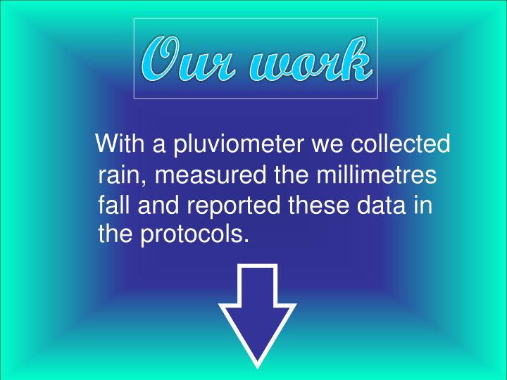 With a pluviometer we collected  rain, measured the millimetres fall and reported these data in the protocols.