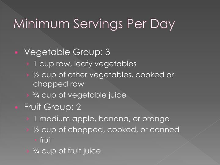 Minimum servings per day
