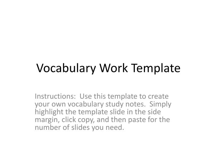 Ppt Vocabulary Work Template Powerpoint Presentation Id 2464108