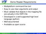 demo reader requirements