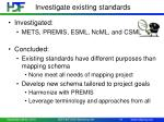 investigate existing standards