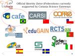 official identity inter federations currently supported by catania science gateways