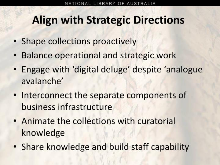 Align with Strategic Directions