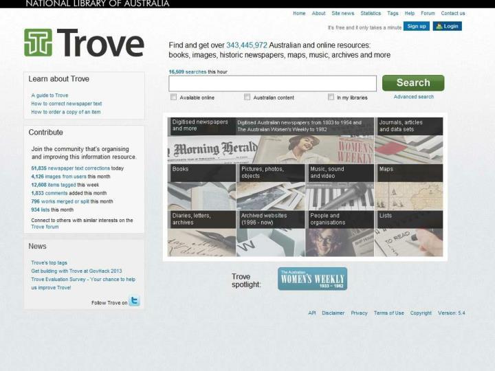 Trove home page