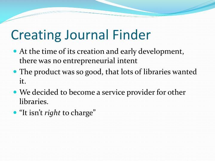Creating Journal Finder