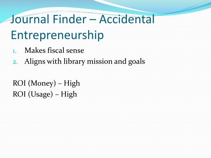 Journal Finder – Accidental Entrepreneurship