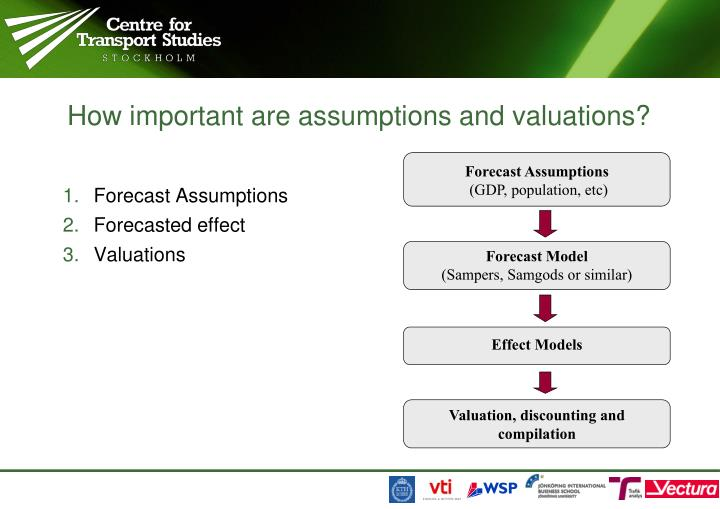 How important are assumptions and valuations