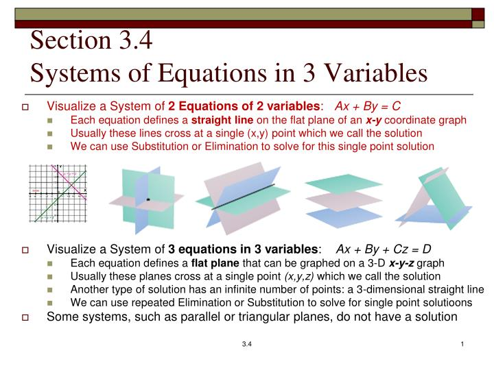 PPT - Section 3 4 Systems of Equations in 3 Variables