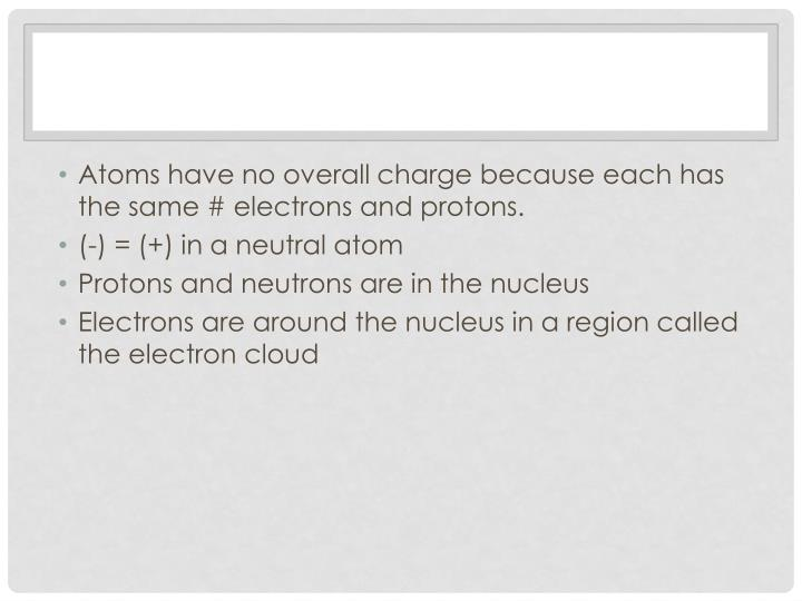 Atoms have no overall charge because each has the same # electrons and protons.