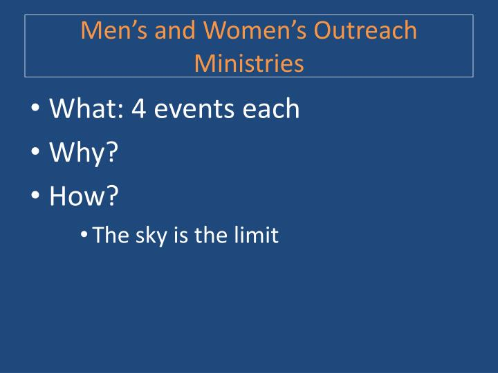 Men's and Women's Outreach Ministries