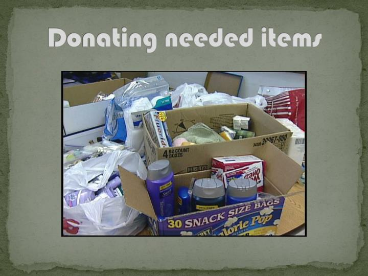Donating needed items
