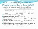 cost of capital of leveraged firms the weighted average cost of capital wacc1