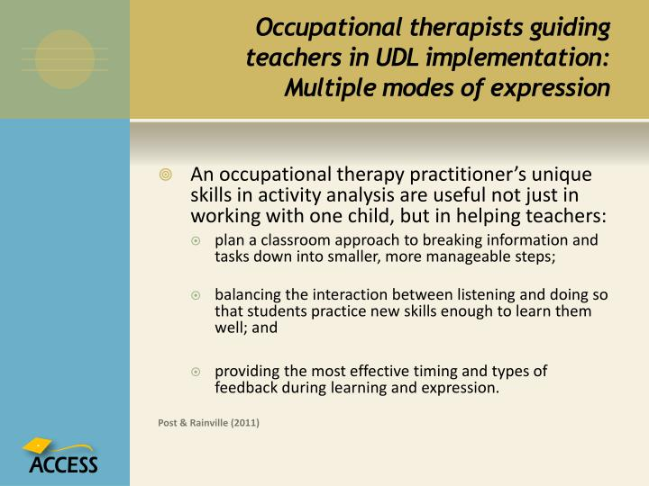 Occupational therapists guiding teachers in UDL implementation: Multiple modes of expression