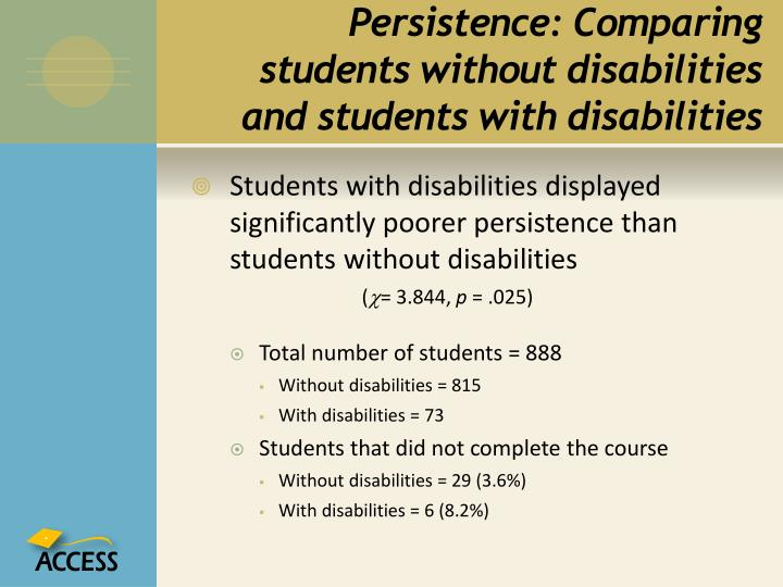 Persistence: Comparing students without disabilities and students with disabilities