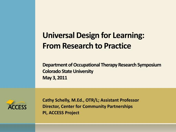 Universal Design for Learning: