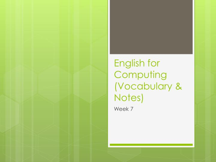 english for computing vocabulary notes n.
