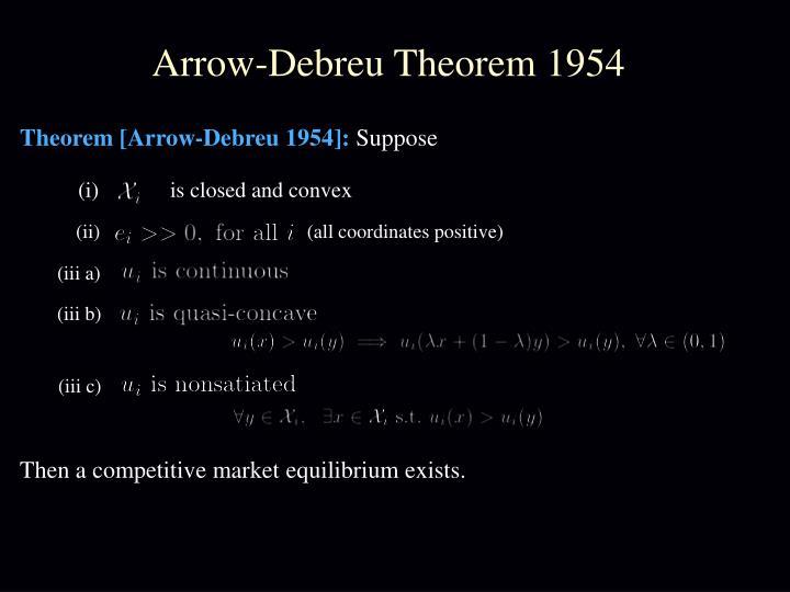 Arrow-Debreu Theorem 1954