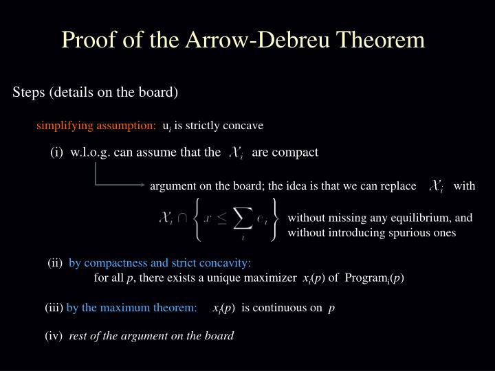 Proof of the Arrow-Debreu Theorem